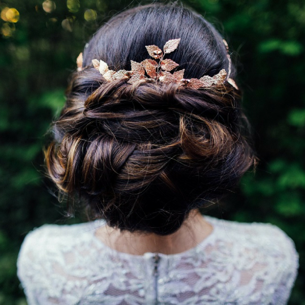 Bridal Leaf Hair Vine Rose Gold