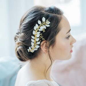 Honor Gold leaf bridal comb