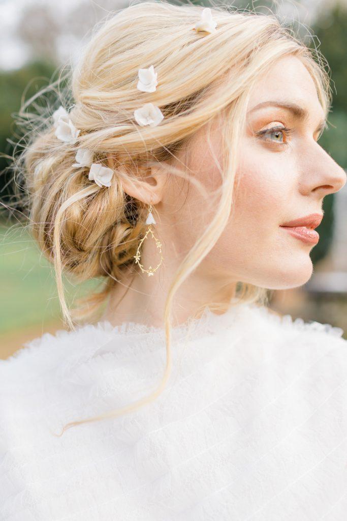 'Lisa' 14k gold floral bridal earrings