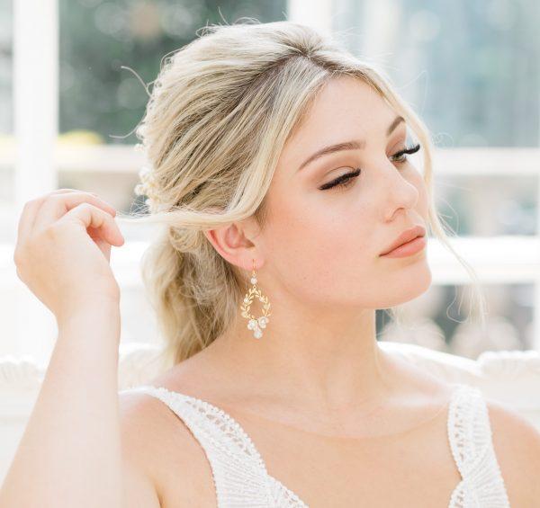 gold drop bridal earrings