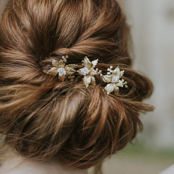 gold bridal hair pins