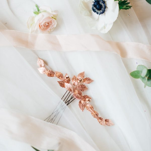 Rose gold leaf hair pins