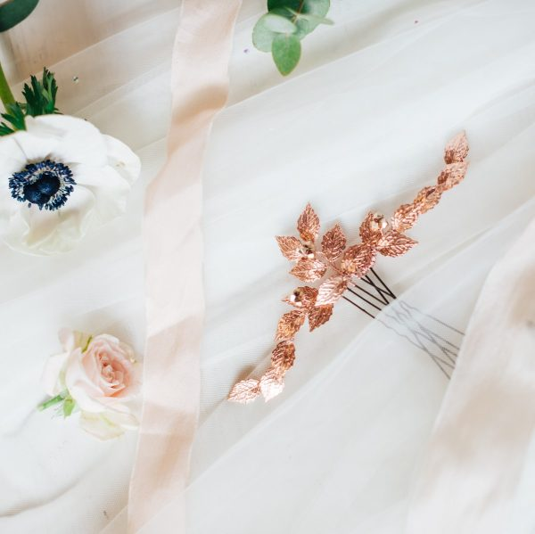 Rose gold leaf hair pins