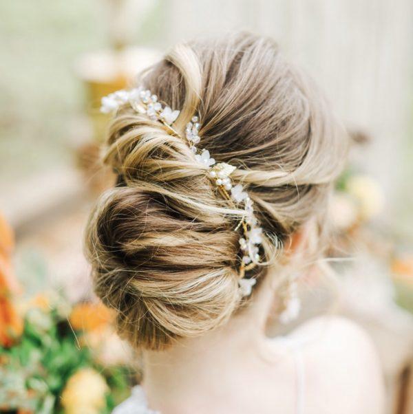 Valentina gold bridal hair vine