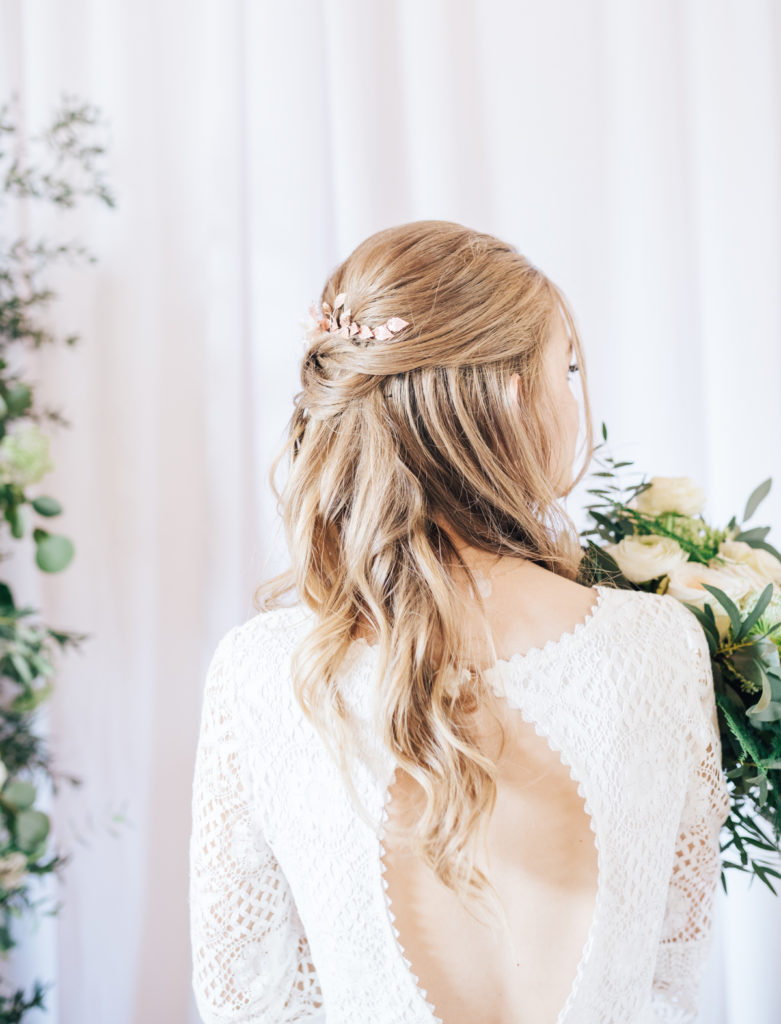 bridal half up half down hair
