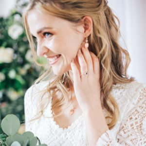 Heather leaf bridal earrings
