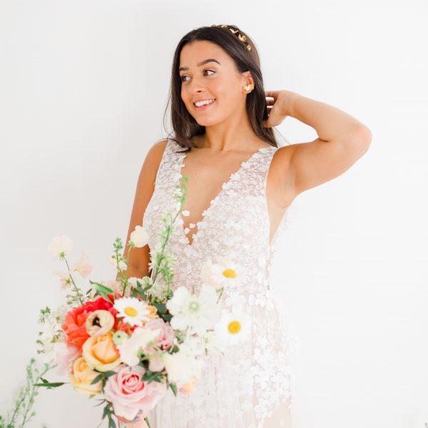 flower wedding earrings gold