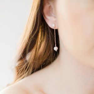 lola pearl drop bridal earrings