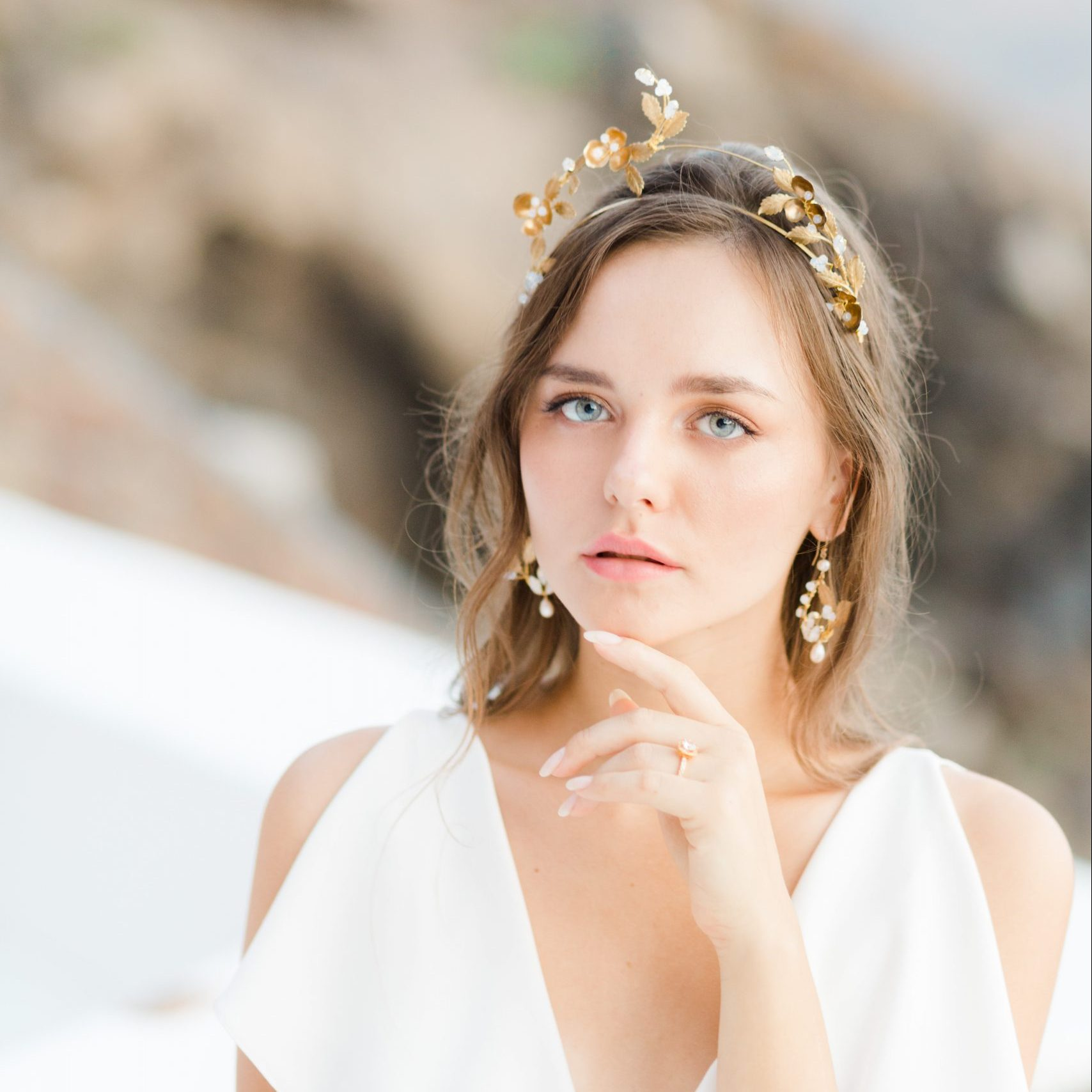 Ophelia gold bridal crown