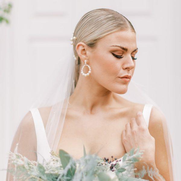 pearl bridal hoop earrings