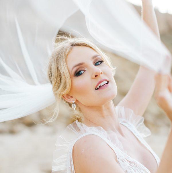 Belle diamante bridal drop earrings