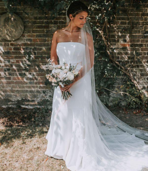 single tier chapel bridal veil