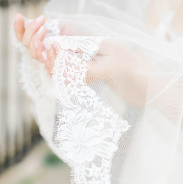 lace edged fingertip bridal veil