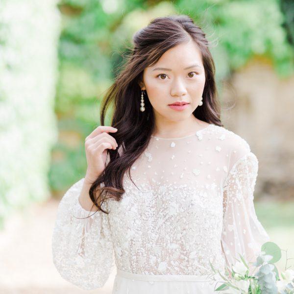 pearl bridal drop earrings